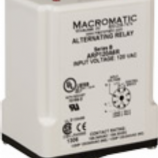 Macromatic ARP120A3R, Duplex Alternating Relay, 10 Amp, 120VAC, DPDT, 8 pin, selector switch, cross wired